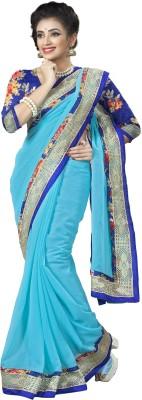 Aai Shree Khodiyar Art Solid Bollywood Chiffon Sari