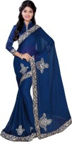 Indian Women Embellished Fashion Chiffon Sari(Blue)