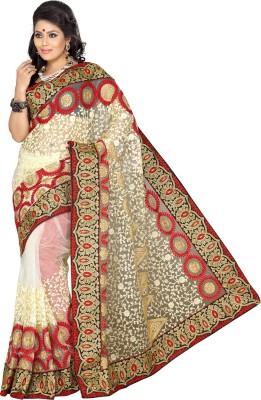 Ishin Embroidered Fashion Net Saree(Beige)