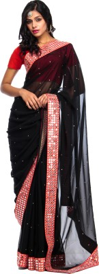 Shalom Creations Solid Fashion Handloom Georgette Sari
