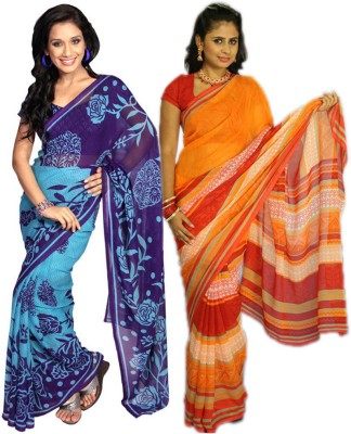 Wishing Wardrobe Printed Daily Wear Georgette Sari