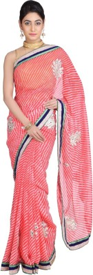 Geroo Embriodered Leheria Synthetic Georgette Sari