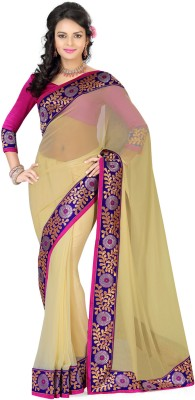 Deepika Couture Solid Bollywood Georgette Sari