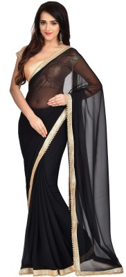 Shonaya Embellished Fashion Georgette Saree(Black) at flipkart