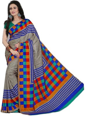 Geordie Checkered, Self Design Fashion Art Silk Sari