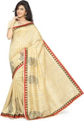 Rani Saahiba Applique Bhagalpuri Art Silk Sari(Beige)