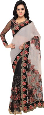 Aagaman Fashion Embroidered Fashion Net Saree(Multicolor) at flipkart