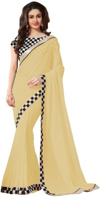 Bhuwal Fashion Embroidered Fashion Chiffon Saree(Beige)