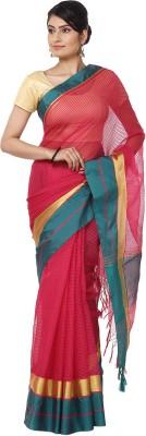 Seven Square Solid Banarasi Net Sari