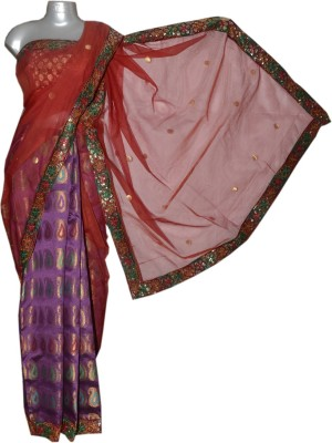Kreasions Floral Print Chanderi Handloom Net Sari