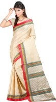 Kajal Sarees Solid Fashion Silk Sari(Beige)