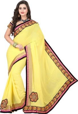 Crafts N Culture Solid Fashion Pure Georgette Sari
