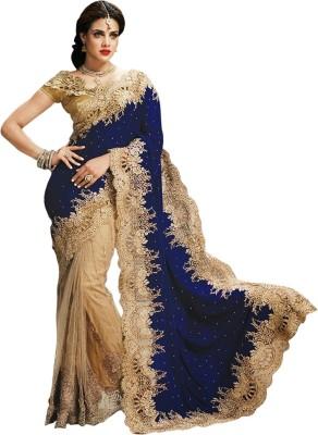 Aksh Fashion Embroidered Fashion Net Sari(Brown) at flipkart