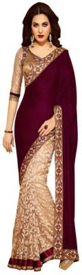 NKK Enterprise Embriodered Bollywood Velvet Sari