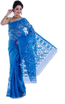 Rudrakshhh Embroidered Jamdani Handloom Cotton Saree(Blue) at flipkart
