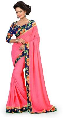Indianbeauty Self Design, Solid, Printed Bollywood Pure Chiffon Sari
