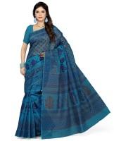 Rani Saahiba Printed Gadwal Polycotton Sari(Blue)