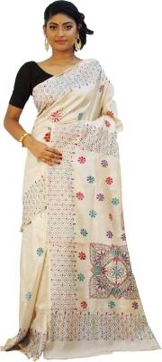 Rudrakshhh Embriodered Katha Handloom Tussar Silk Sari