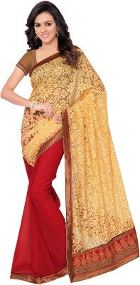 Sarovar Sarees Self Design, Geometric Print, Floral Print, Polka Print Fashion Brasso Fabric Sari