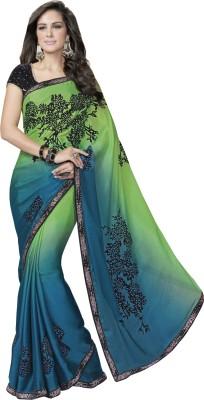 Manish Creation Embellished, Self Design Bollywood Georgette, Velvet Sari