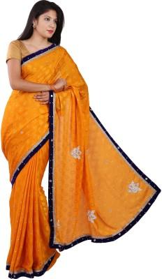 PurpleYou Embellished Fashion Crepe Sari