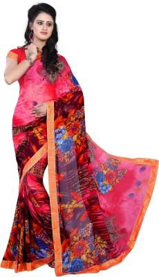 DIVINEFASHIONSTUDIO Polka Print Fashion Georgette Sari