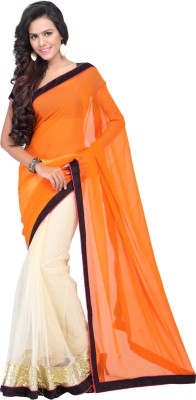 Shree Parmeshwari Solid Bollywood Net, Pure Georgette Sari