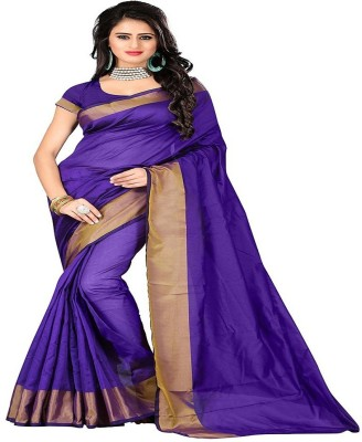 Cozee Shopping Embellished Daily Wear Polycotton Saree(Purple) at flipkart