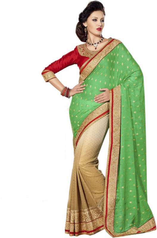 Aarti Apparels Embroidered Bollywood Georgette Saree(Green, Beige)