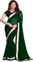 Sourbh Sarees Solid Fashion Synthetic Georgette Saree(Dark Green)