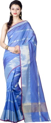 Chandrakala Striped Banarasi Silk Saree(Blue) at flipkart
