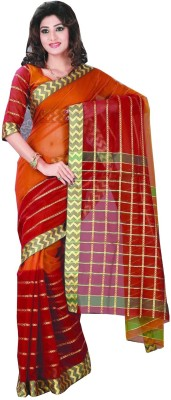 Studio Shringaar Checkered, Striped Sambalpuri Art Silk Sari