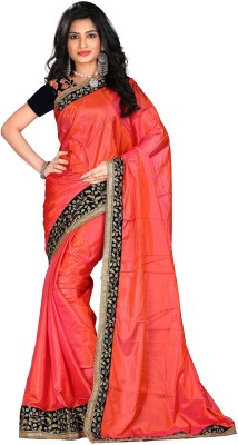 STARLIGHT CLUB Embroidered Fashion Silk Sari(Pink)