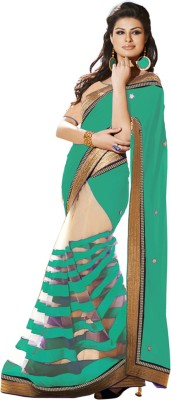 TriveniCreation Striped Bollywood Handloom Georgette, Net Sari