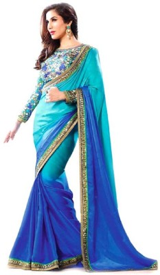 Zenny Creation Solid Bollywood Chiffon Sari