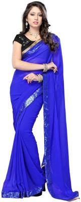 VINCITORE Embriodered Fashion Velvet Sari