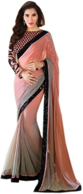 Patel Sarees Plain Bollywood Handloom Georgette Sari