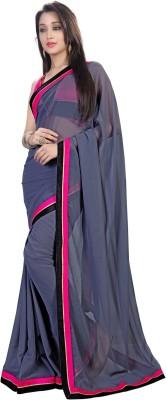 Ethnic For You Plain Fashion Georgette Sari