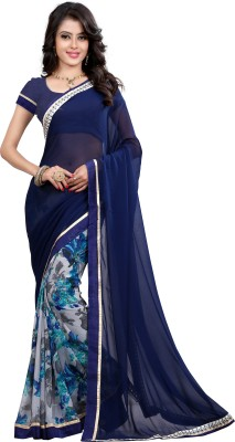 Arya Fashion Self Design Bollywood Georgette Saree(Blue) at flipkart
