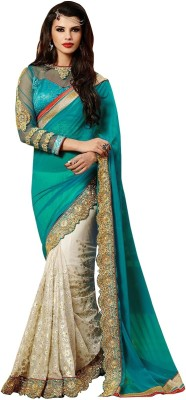 Shoppershopee Embriodered Bollywood Georgette, Net Sari