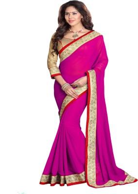 Sourbh Sarees Solid Fashion Georgette Saree(Pink) at flipkart