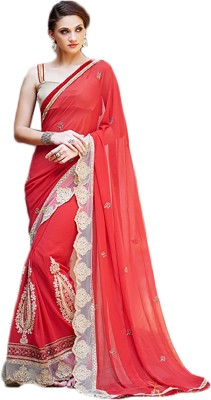 Linenplus Embriodered Bollywood Georgette, Brocade Sari