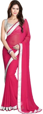 Krisha Fashion Solid Fashion Georgette Sari