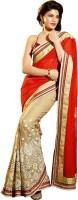 Melluha Embroidered Fashion Georgette Sari(Beige, Red)
