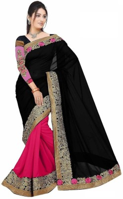 Ustaad Embriodered Daily Wear Chiffon Sari