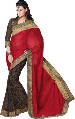 Queenbee Printed, Embriodered, Self Design Fashion Georgette Sari