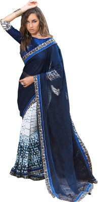 Queenbee Printed, Self Design Fashion Georgette Sari