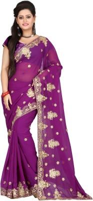 Harshi Self Design, Solid Fashion Georgette Sari