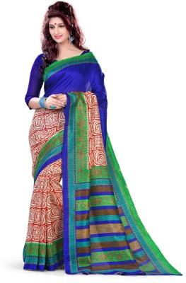 EthnicQueen Floral Print Fashion Art Silk Sari