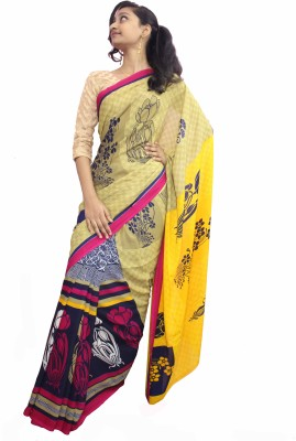 Sesco Floral Print Daily Wear Chiffon Sari